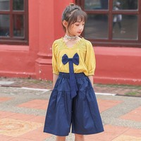 Back To School Clothing 2pcs Kids Girls Summer Outfits Clothes Sets Children Blouses Shirts Tops And Knee Length Pants Set Fall