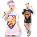 2016 Summer Melinda Style Pink Women T Shirt With Sequins t-Shirt Superman Mark Womens Tee Shirt Femme
