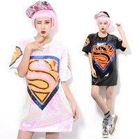 2016 Summer Melinda Style Pink Women T Shirt With Sequins T Shirt Super Man Mark Crop