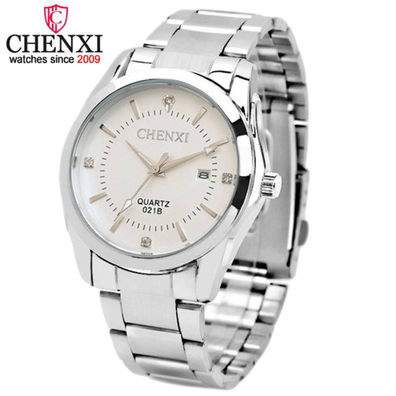 CHENXI Watch Men Famous Brand Silver Steel Strap Watchband Hand Watches Date High Quality Male Gift Quartz Wristwatches NATATE new arrival chenxi 3 eyes sport waterproof steel quartz wristwatches wrist watch for men male 036a silver