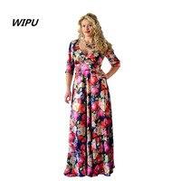 5XL 6XL Large Size2018 Autumn V Neck Dress Maxi Dress Robe Vintage Casual Women Flowers Printed