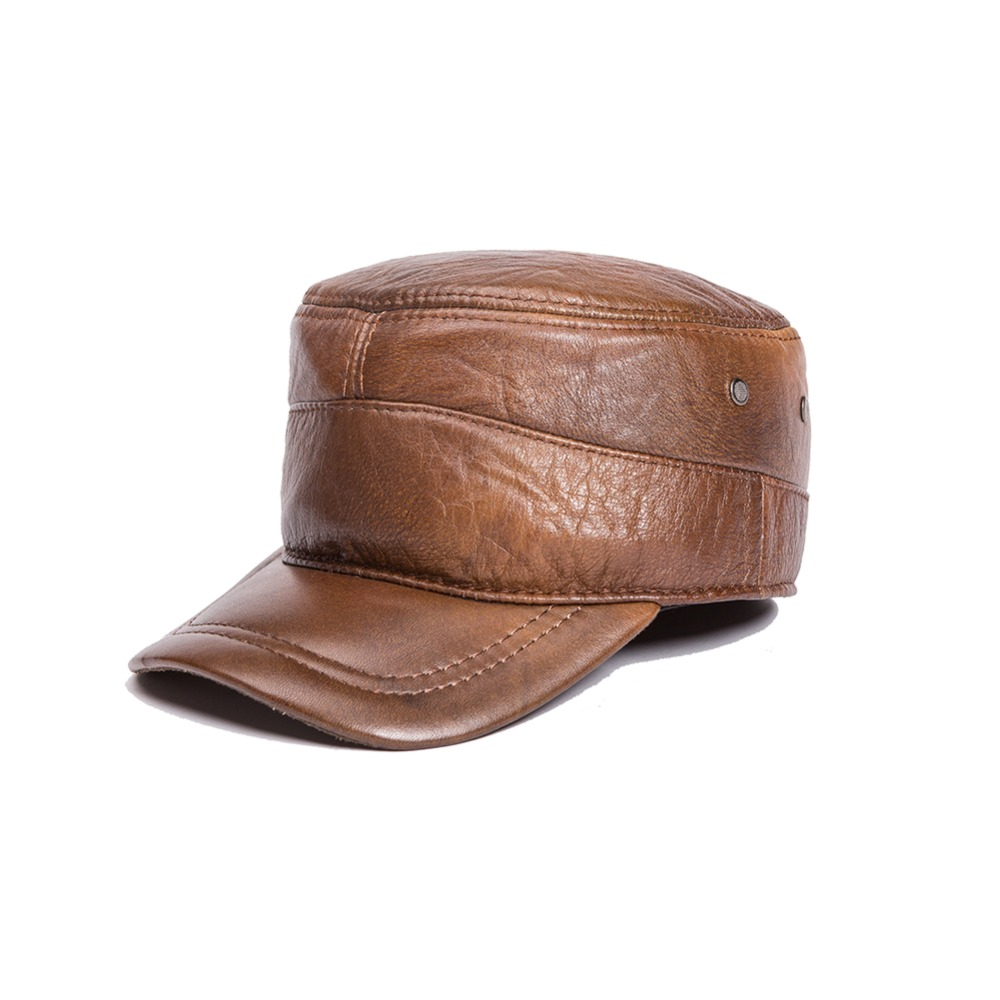 ФОТО Genuine leather cowhide newsboy hat men's fashion cap hat hiqh quality full leather for men spring