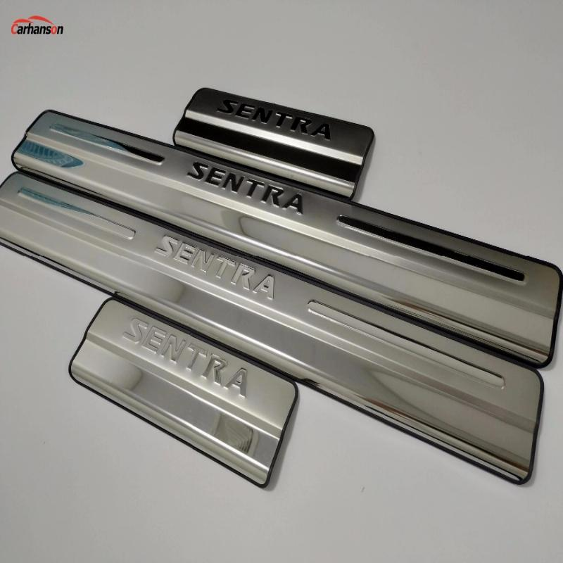 Accessories Car Styling For Nissan Sentra Stainless Steel Door Sill Pedal Scuff Plates 2010 2014 2015 2016 2017 Car Sticker 4pcs