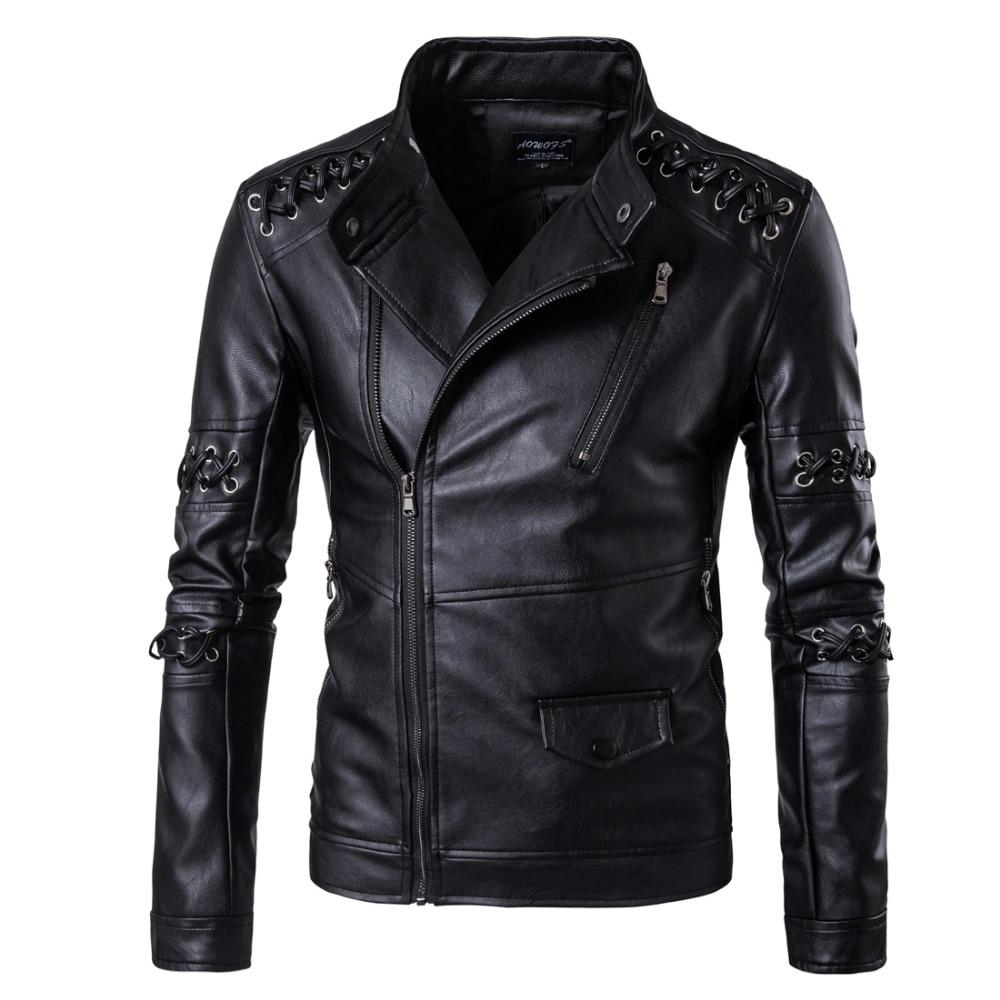 Rock costumes personalized weave diagonal zipper leather men's nightclub youth motorcycle leather jacket large size jacket