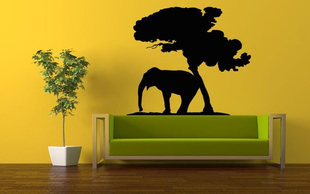 Africa Savanna Animal Elephant Wall Stickers Tree Branch Art Mural ...