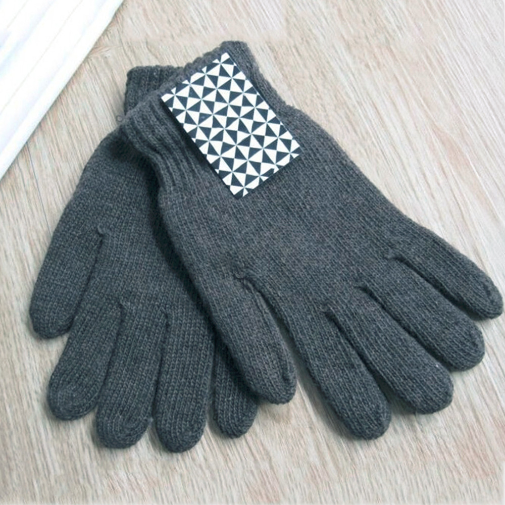 Hot Men Women Unisex Woolen Thermal Mittens Gloves Winter Thick Cotton Warm Knitting Full Finger Plain Color Gloves Guantes