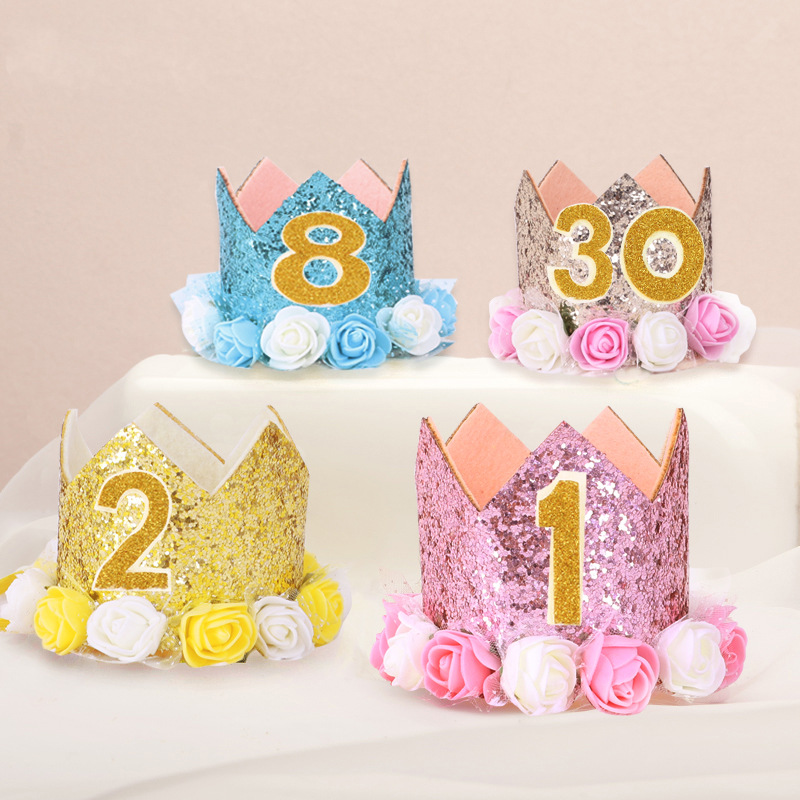 Baby Boy Girl Party Cartoon Hats First 1st Birthday Party Hat Gold Princess Prince Crown One Two Three Year Old Self-sticking