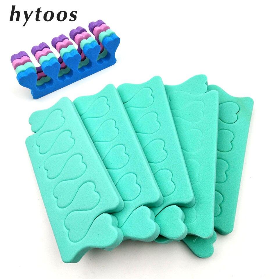 HYTOOS 10pcs Nail Art Toes Separators 5 Pairs Foam Sponge Fingers Foots Separator Soft  Gel UV Salon Polish