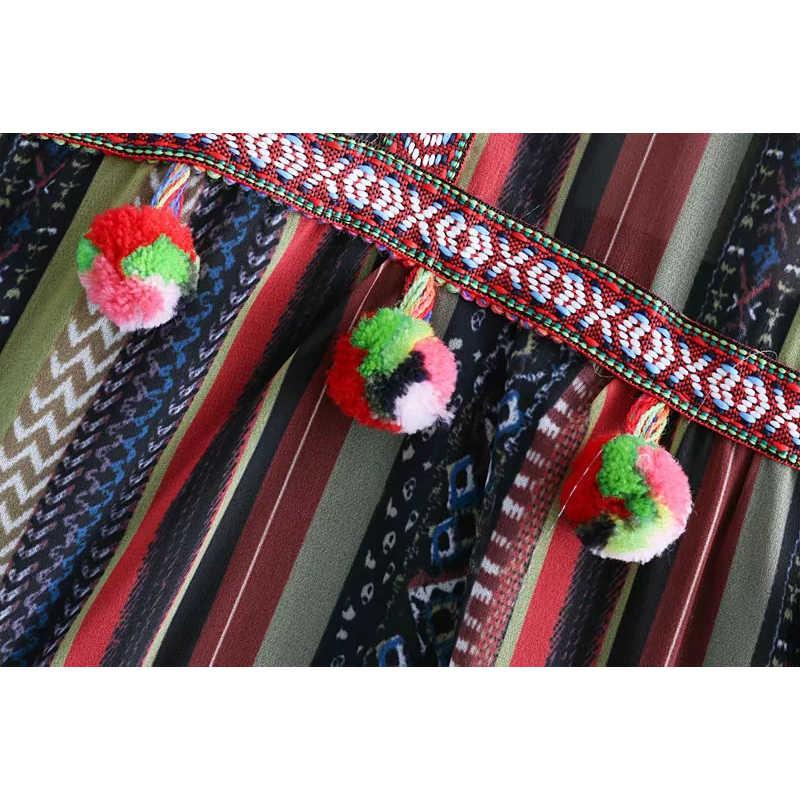 女性毛むくじゃらのボールの装飾ヴィンテージストライプドレスレディースレトロレイヤードドレスガールズシフォンロング休日 Vestidos