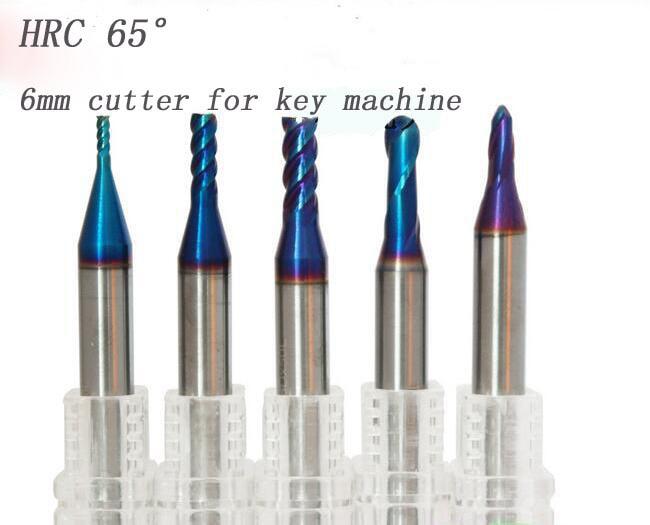 5pcs HRC65  6D*50L Carbide end milling cutter for key machine locksmith tools cutter drill bits