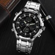 Brand AMUDA Fashion Digital Watch Men Led Full Steel Gold Mens Sports Quartz-Watch Military Army Male Watches relogio masculino