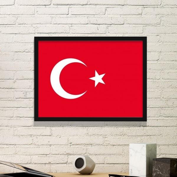 J'aime La Turquie Mot Drapeau Amour Coeur Illustration Motif Rectangle Cadre Photo Reproductions de Peintures Accueil Sticker