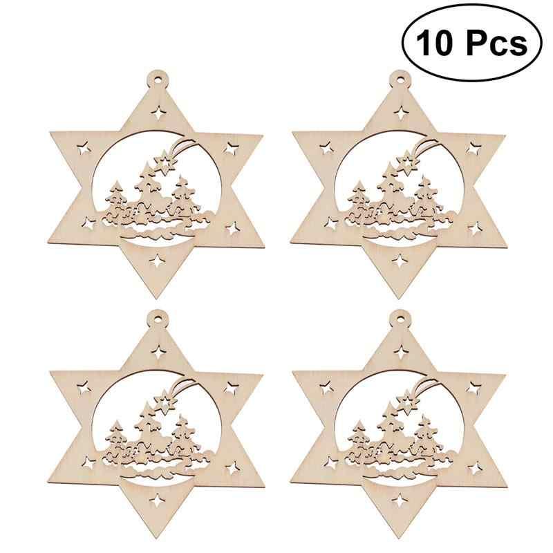 10pcs Hexagram Star Wooden Discs Wood Cutout Slices For DIY Crafting Decor Ornaments Christmas Tree Pendants Decorations A3