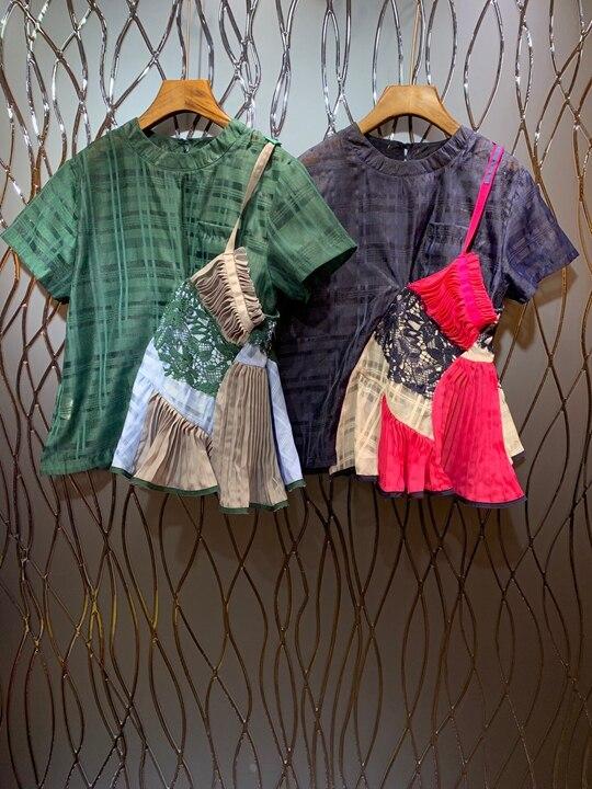 Sommer 2019 Neue frauen Rundhals Unregelmäßige Presse falte Farbe Spleißen kurzarm Baituan Top 607-in T-Shirts aus Damenbekleidung bei  Gruppe 1