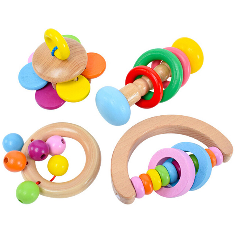 Wood Rattle Baby Toys Rattles Baby Bed Hand Bell Rattle Toy Handbell Musical Educational Instrument Toddlers Rattles Teether