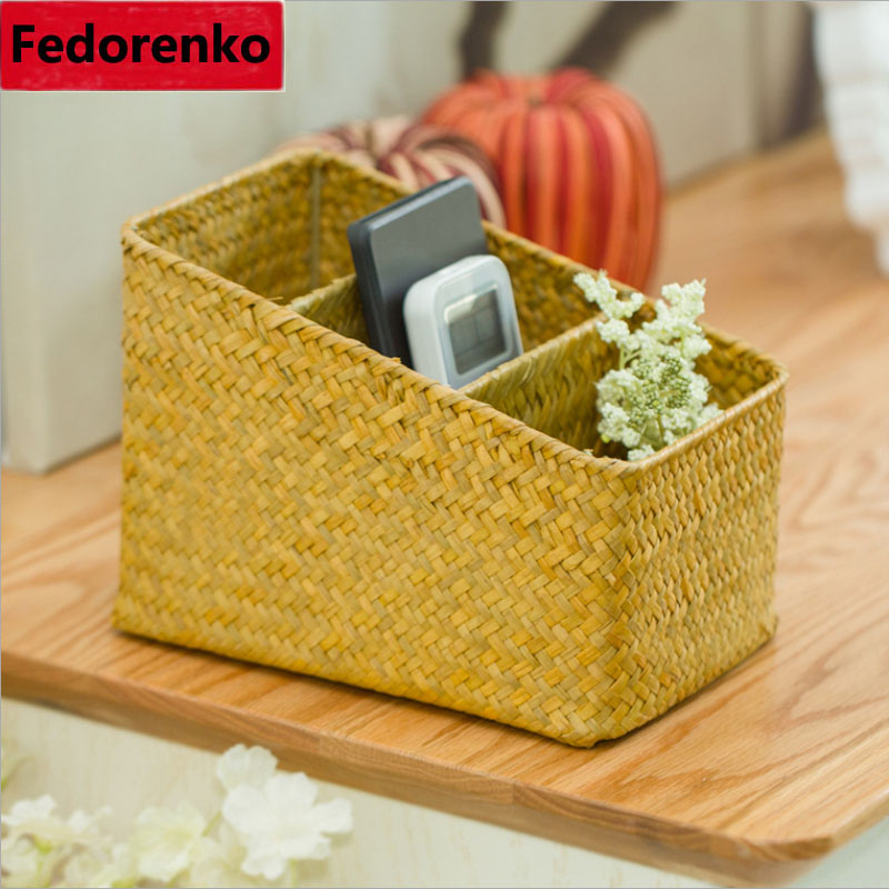 3 Lattices Natural Handmade Woven Straw Desktop Storage Boxes Office Remote Control Key neatening organizer Grid Mesh Baskets
