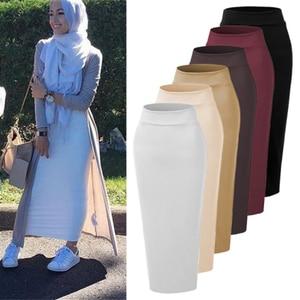 Image 1 - נשים מוסלמי ארוך חצאית כותנה עבה Slim גבוהה מותן למתוח מקסי Bodycon עיפרון חצאית העבאיה דובאי מוסלמי חצי