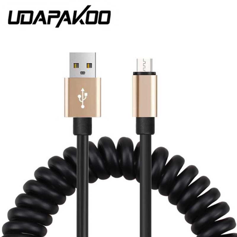 Flexible Elastic Stretch 8pin micro USB 2.0 Cable Data Sync Charger Spring Cord For iPhone 5s 6 6S 7, for samsung galaxy etc htc ...