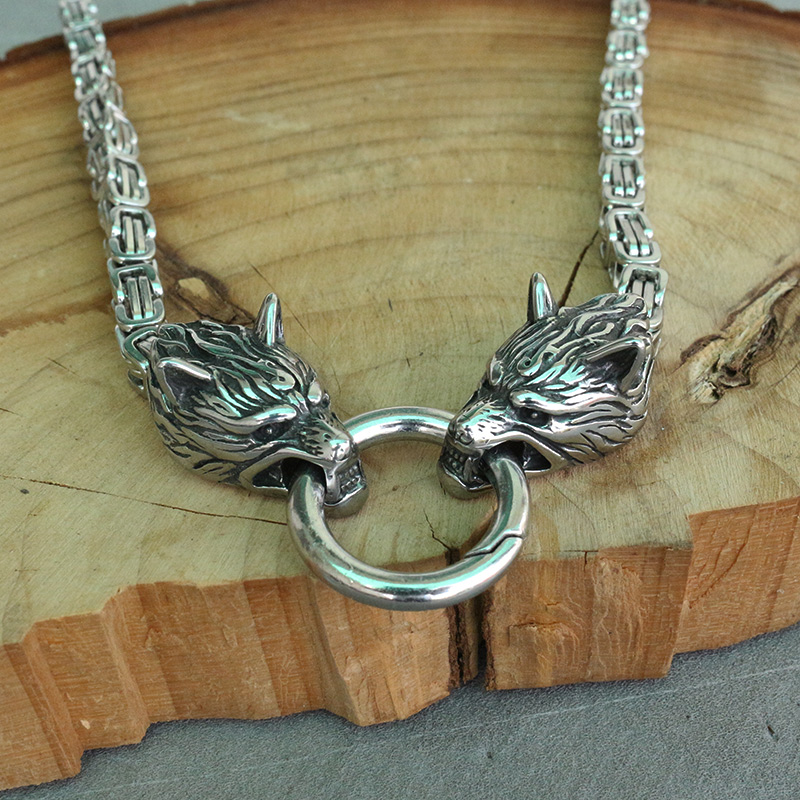 lanseis 1pcs men Cool necklace stainless steel wolf head cha