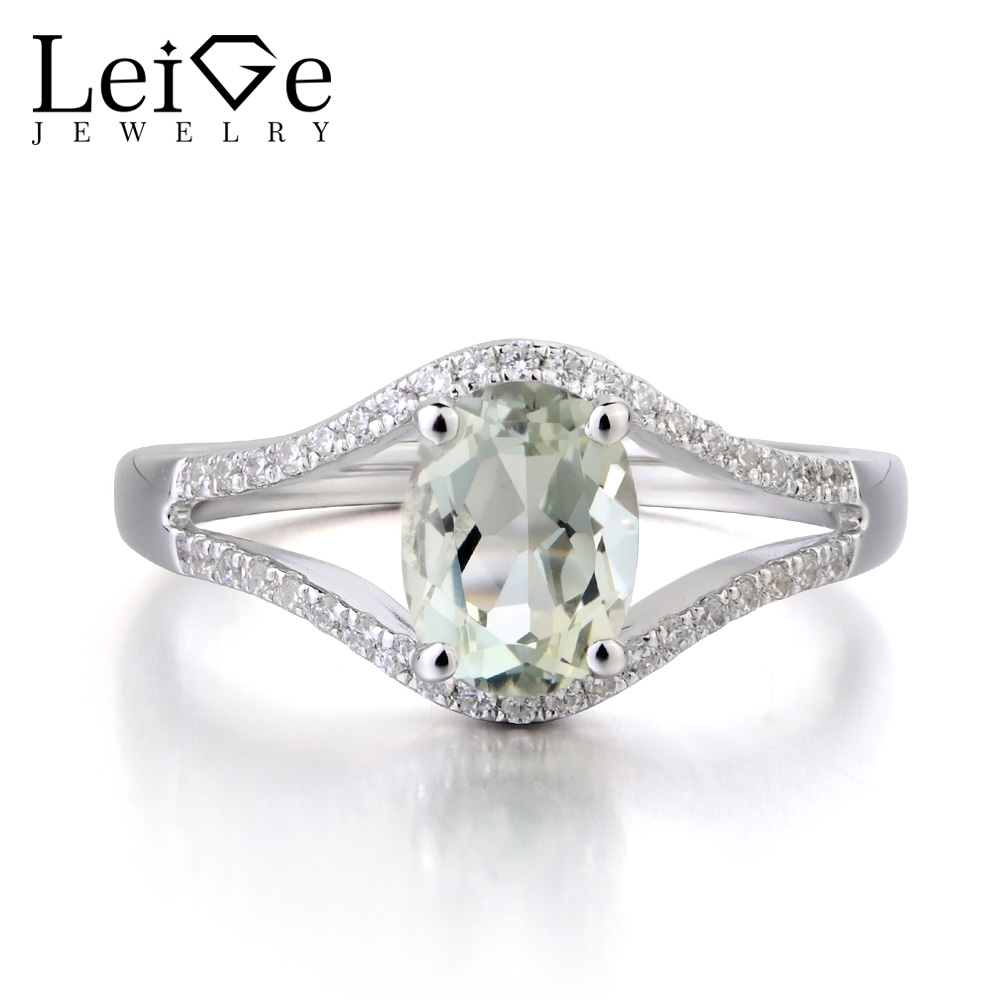 цены Leige Jewelry Natural Genuine Green Amethyst Solid 925 Sterling Silver Ring Fine Gemstone Oval Cut Anniversary Rings for Women