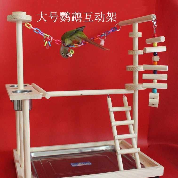 Large size Wood Parrot Playground Bird Perch with Ladders Feeder Parrot Bite Toys Bird frame Stand Cage Bird Suspension Bridge