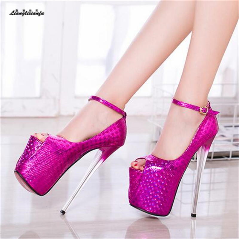 LLXF zapatos Plus:42 43 Stiletto Catwalk Shows Nightclub Sexy 19cm High-heeled Shoes woman Patent Leather Sandals female Pumps sexy temptation to 18 centimeters nightclub high heeled shoes catwalk show reception appeal colourful shoes dance shoes