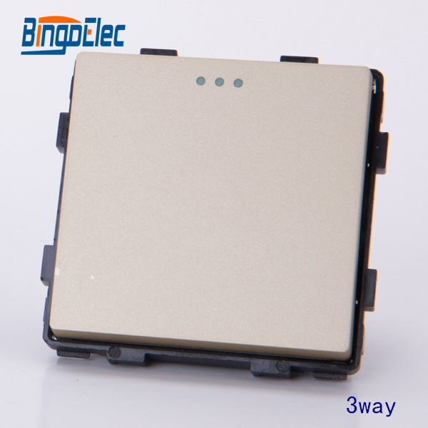 1gang 3way press light wall switch part, AC110-250V,no frame,EU/UK,Hot sale kempinski wall switch 3 gang 1 way light switch champagne gold color special texture c31 sereis 110 250v popular