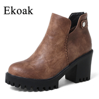 Ekoak 2018 New Ankle Boots Women Shoes Fashion Leather Motorcycle Boots Ladies Zip Martin Boots High