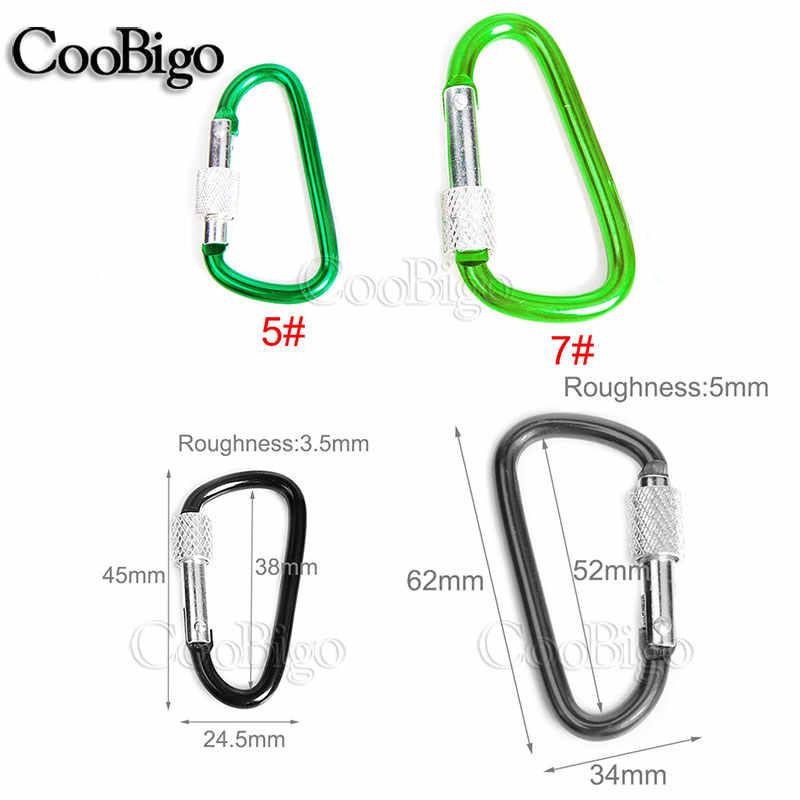 2pcs Pack Size 5# 7# Aluminum Spring Locking Carabiner Snap Hook With Screw Lock Hanger Keychain Hiking Camping Backpcak #FLQ187