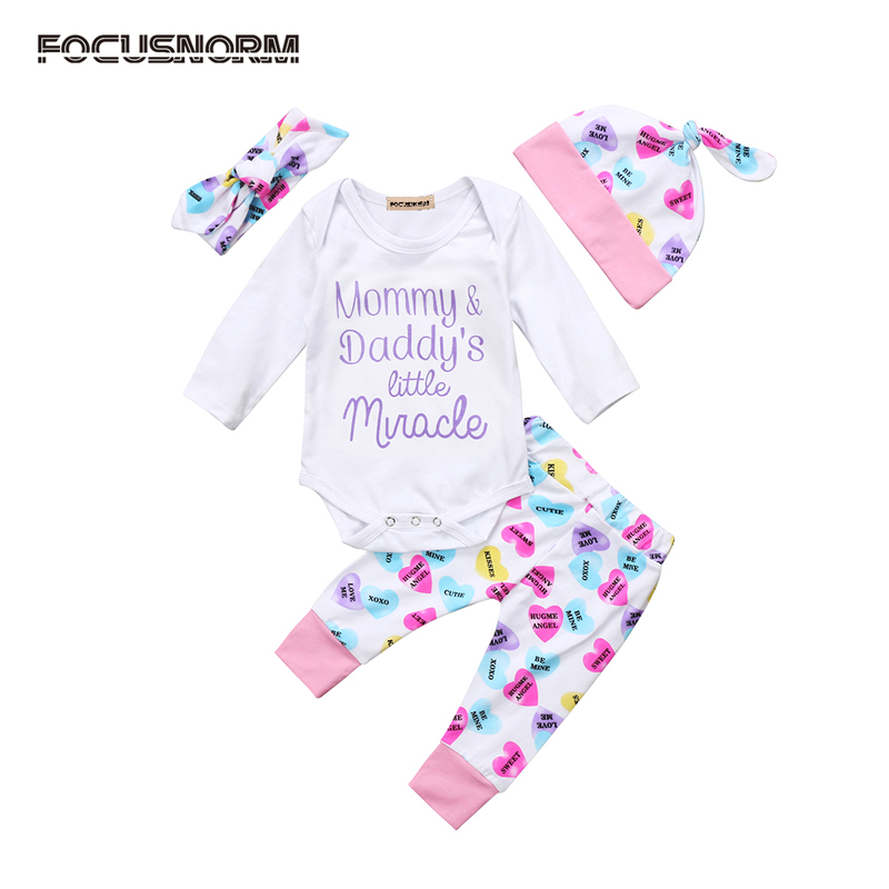 4PCS Newborn Kids Baby Girl Clothes Long Sleeve Letter Tops Romper Pants Hat Home Outfits Set Clothes 0-24M
