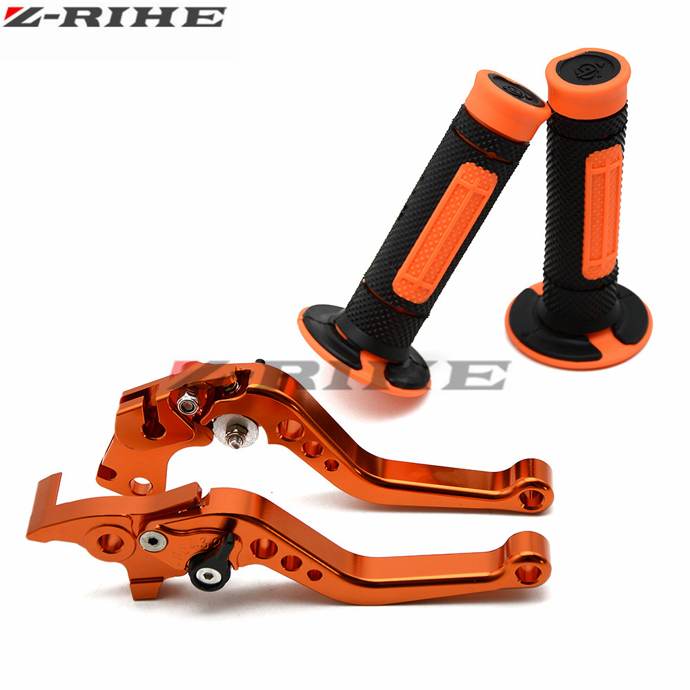 for KTM DUKE 125 200 All Year 390 2013-2016 CNC Aluminum Brake Clutch Levers Short Adjustable + Rubber Hand Grips FOR KTM orange motorcycle aluminum adjustable foldable lengthening brake clutch levers for ktm rc 390 2014 2015 2016 2017 free shipping