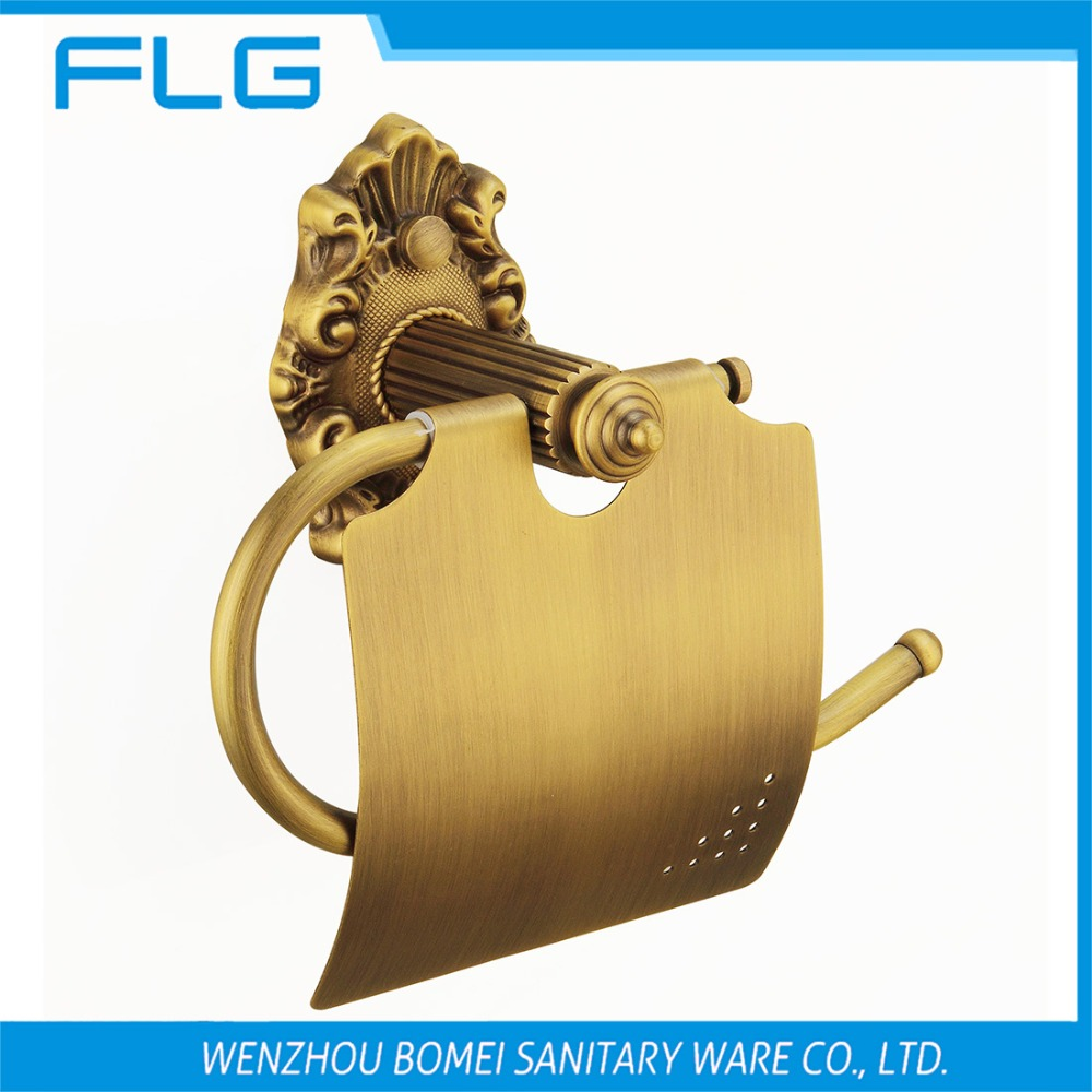 Free Shipping FLG100206 Paper Holder Wall Mounted Antique Brass Lavatory Tissue Holder Art Curving Retro Style