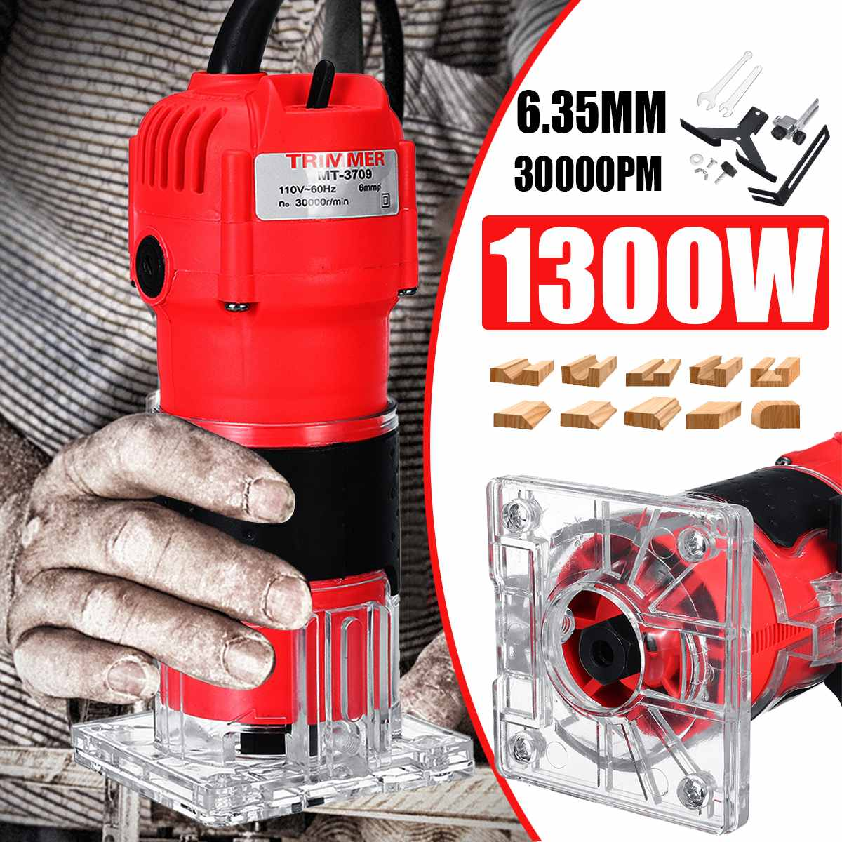 30000RPM1300W 6.35mm Electric Hand Trimmer Wood Laminate Palms Wood Router Joiners Hand Woodworking Carving Machine 220V 110V30000RPM1300W 6.35mm Electric Hand Trimmer Wood Laminate Palms Wood Router Joiners Hand Woodworking Carving Machine 220V 110V