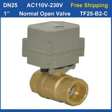 "Free shipping DN25 AC110-230V 2 wires NPT/BSP 1"" Normal Open TF25-B2-C Electric Brass Valve With Position Indicator"