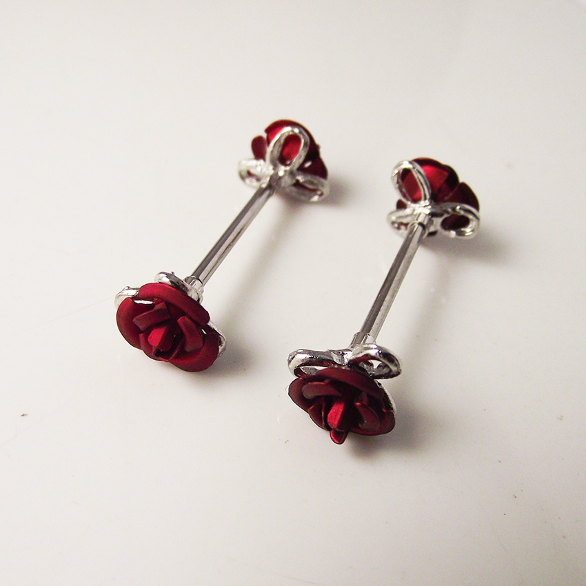 1 Pair Red Rose Flower Barbell NippleRing Stainless Steel 14g Body Jewelry