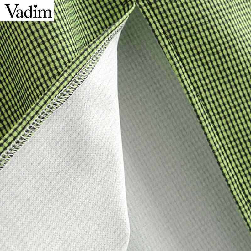 Женское элегантное платье vadim V шеи клетчатое миди платье без рукавов на бретельках женские шикарные Сплит платья до середины икры vestidos QC171