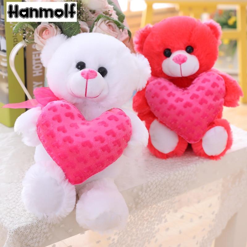 Милая мишка тедди с сердечком, плюшевый мишка белого/темно-розового цвета, плюшевый мишка на День святого Валентина, подарок для любимой дев...