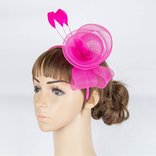 Fancy Color Crinoline Fascinator Headwear Colorful Mesh Feather Party Race Show Hair Accessories Millinery Tail Hat