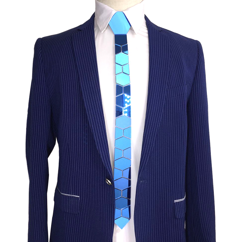 Bling Blue Necktie Geometric Pattern Mirror Skinny Ties Luxury Fashion Accessories Wedding Groom Plaid Necktie Blue Causal Style