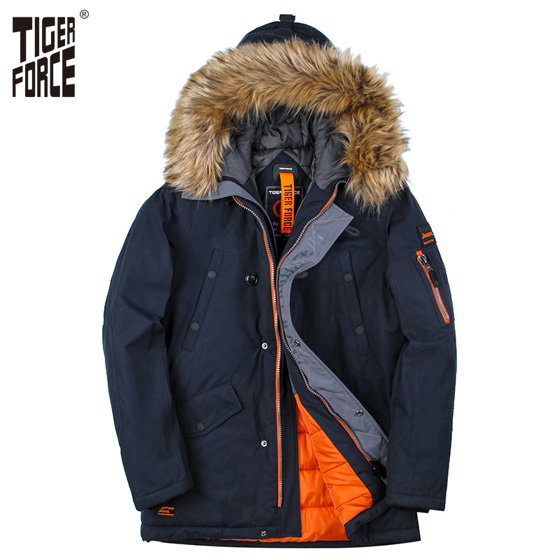 TIGER FORCE Artificial Fur Long   Parkas   2018 Winter Warm Coat Men Padded   Parka   Men Thick   Parkas   Male Hooded Jacket Outerwear