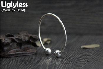 Uglyless Real S999 Fine Silver Women Lovely Balls Jewelry Handmade Opening Bangles Adjustable Thin Bangle Simple Fashion Bijoux