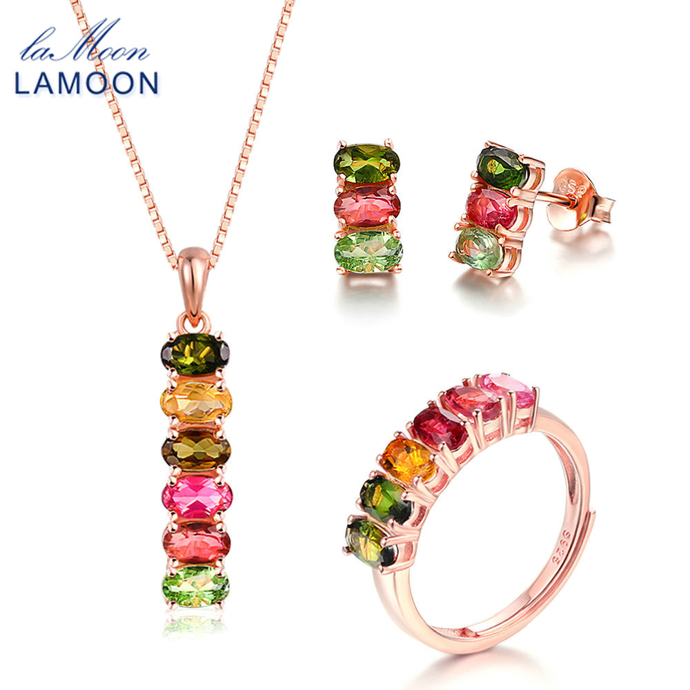 LAMOON 925 Sterling Silver 3PCS Jewelry Sets For Women Natural Gemstone Multicolor Tourmaline S925 Fine Jewelry