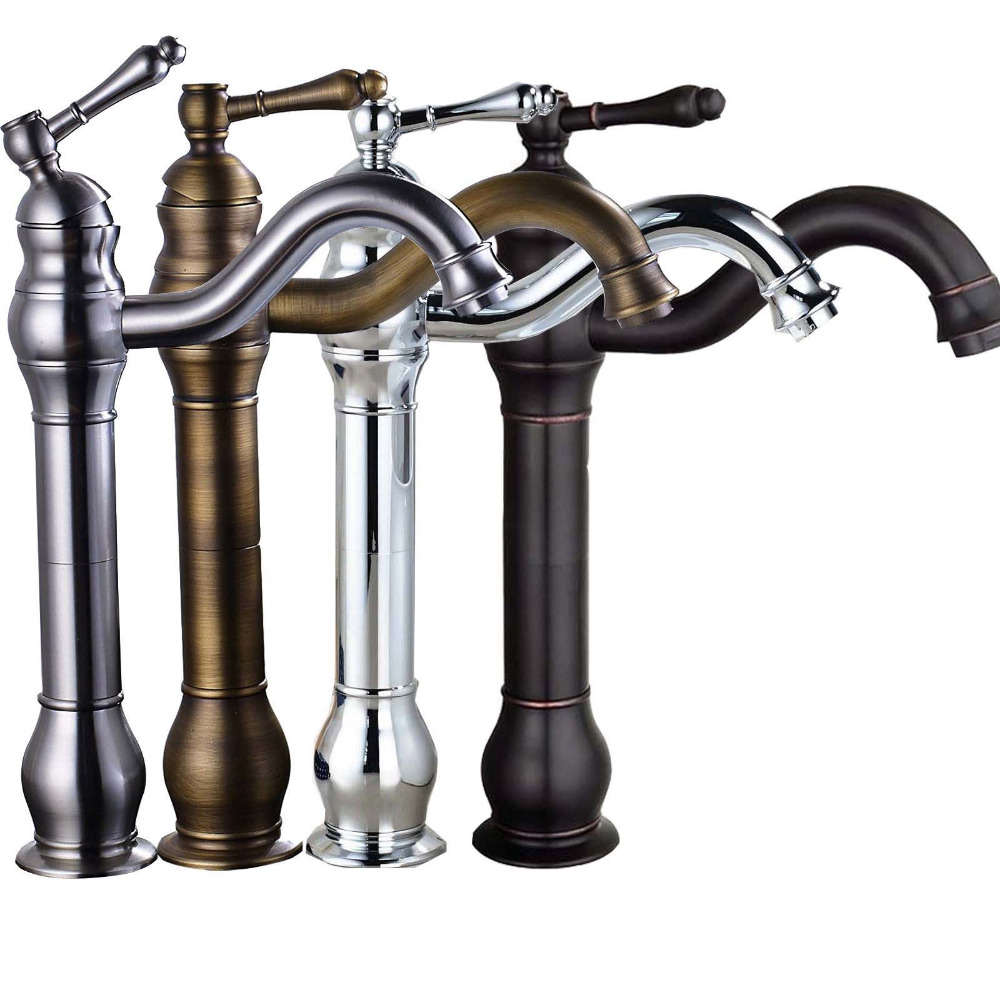 Oil rubbed bronze tall bathroom faucet sink mixer tap - Oil brushed bronze bathroom faucets ...