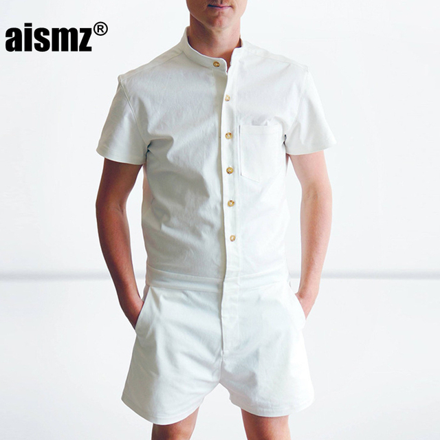 5d6fa902560c Aismz New Summer Unique Romper Men Linen Shirt Short Sets Single Breasted Jumpsuit  Fashion Overalls Tracksuit Casual Cargo Pants