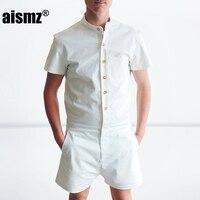 Aismz New Summer Unique Romper Men Linen Shirt Short Sets Single Breasted Jumpsuit Fashion Overalls Tracksuit Casual Cargo Pants