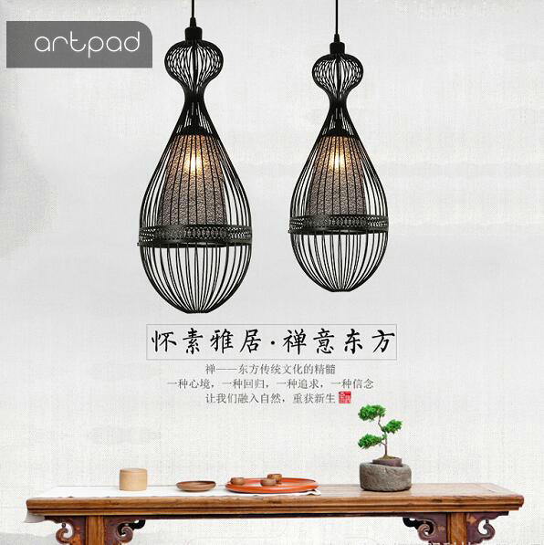 Artpad Chinese Style Iron Birdcage Pendant Light Hotel Restaurant Bedroom Balcony Aisle Industrial Cage Lamp E27 chinese style wooden round wood art pendant lights of modern chinese restaurant restaurant balcony aisle festive lamp zs34