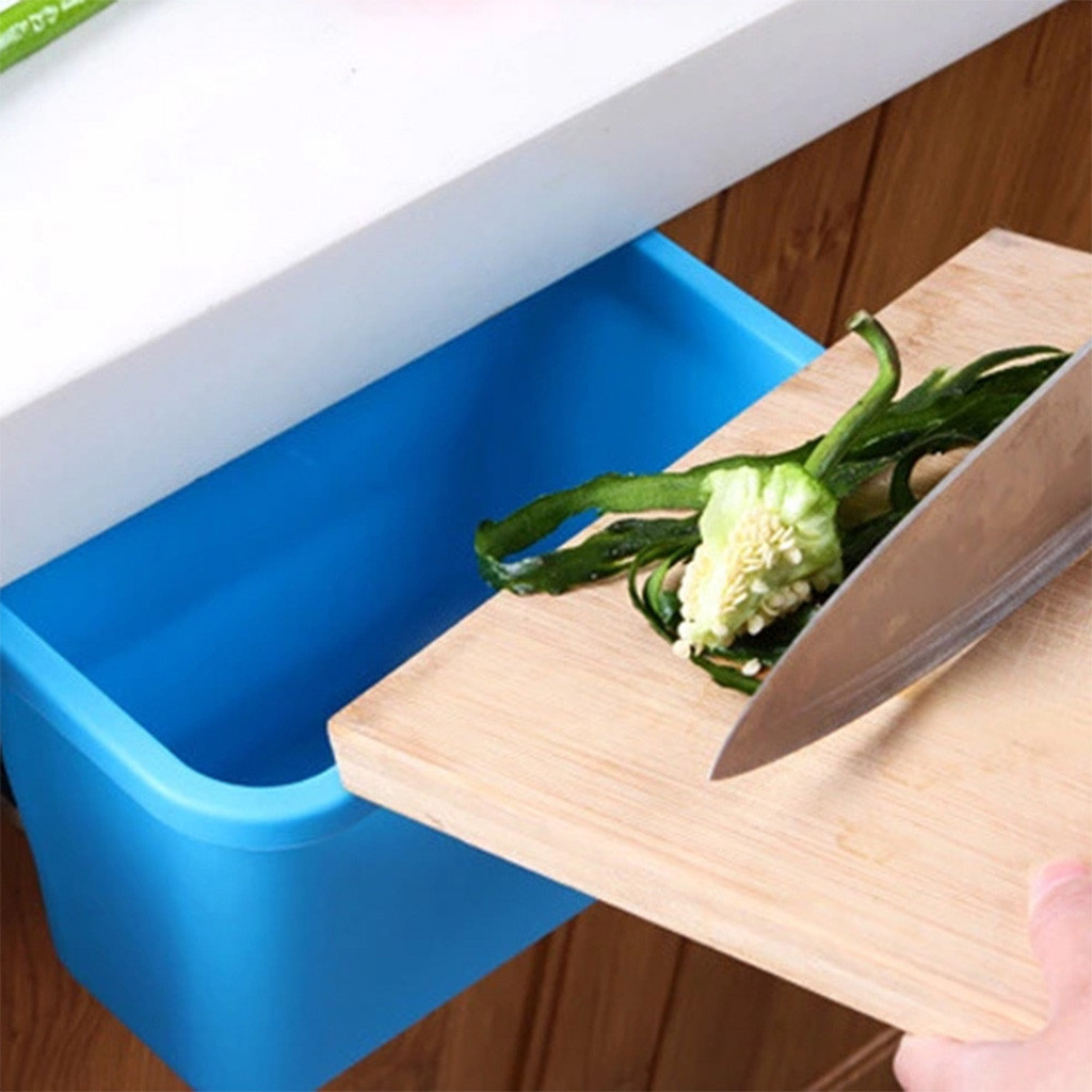 US $10.58 40% OFF|Creative Kitchen Garbage Box Cabinet Doors Hanging Trash  Can Peel Storage Box Poubelle De Cuisine Rubbish Bin Garbage Cabinet-in ...