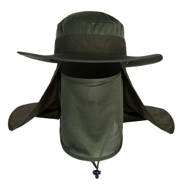 Hot Outdoors Packable Breathable Sun Wide Brim Soft Mesh Fishing Hunting Hiking Breezer UV Protection Face Neck Hat /MHB009-012