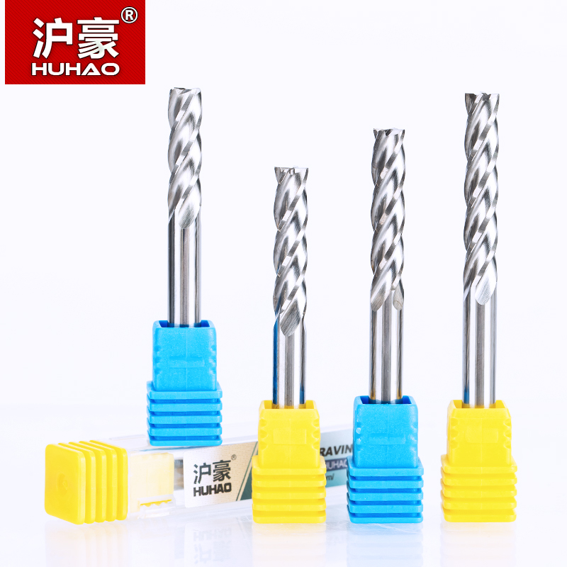 HUHAO 1PC 6mm 4 Flute Spiral End Mill straight shank milling cutter CNC Router Bits For Wood Tungsten Carbide Milling route tool 6 32 super solid carbide one flute spiral bits for cnc engraving machine aaa series