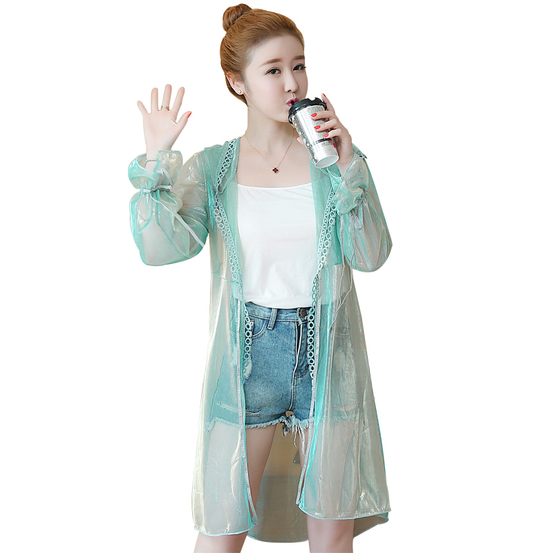 Women Long Loose Transparent   Jacket   Ladies Sexy Shiny   Basic     Jackets   Coat Plus Size Thin Sun Protection Clothing Chaqueta Mujer